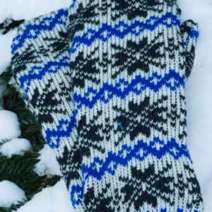Blue and black snowflake wool/fleece mittens