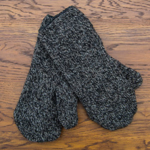 Brown/Black wool/fleece mitten