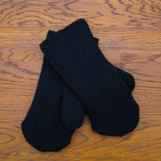 Solid Black Wool/Fleece Mittens